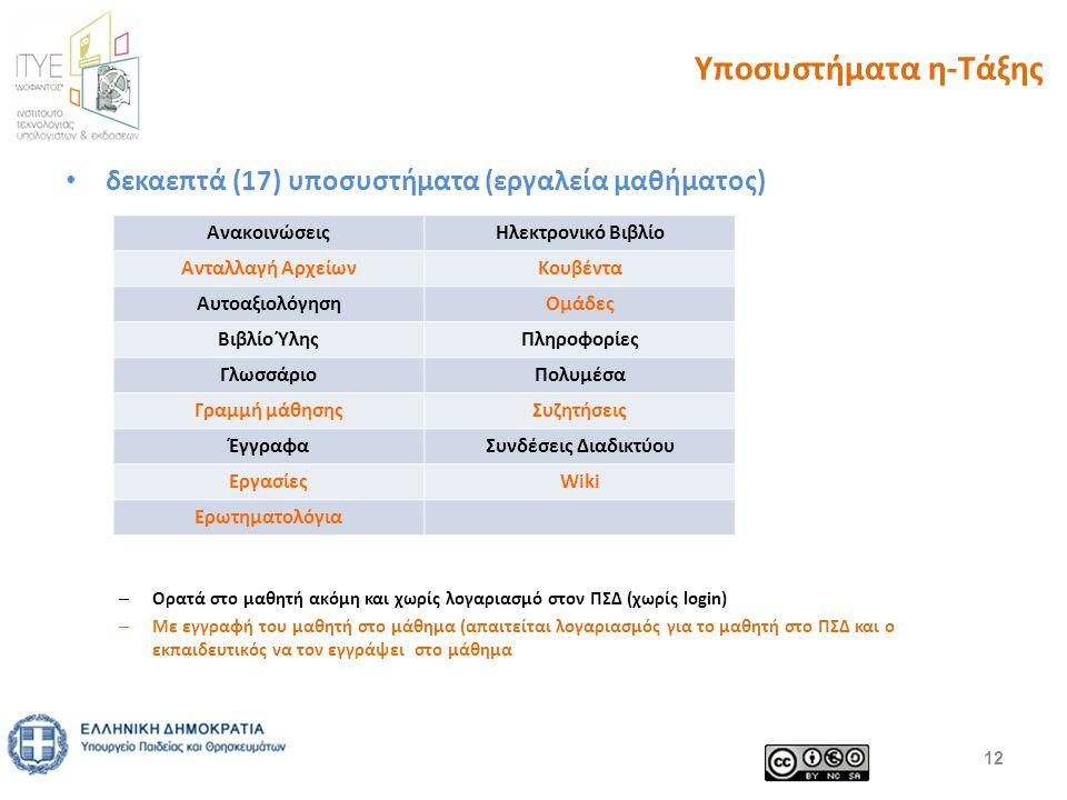 Υποσυστήματα η-Τάξης δεκαεπτά (17) υποσυστήματα (εργαλεία μαθήματος) – Ορατά στο μαθητή ακόμη και χωρίς λογαριασμό στον ΠΣΔ (χωρίς login) – Με εγγραφή του μαθητή στο μάθημα (απαιτείται λογαριασμός για το μαθητή στο ΠΣΔ και ο εκπαιδευτικός να τον εγγράψει στο μάθημα 12 ΑνακοινώσειςΗλεκτρονικό Βιβλίο Ανταλλαγή ΑρχείωνΚουβέντα ΑυτοαξιολόγησηΟμάδες Βιβλίο ΎληςΠληροφορίες ΓλωσσάριοΠολυμέσα Γραμμή μάθησηςΣυζητήσεις ΈγγραφαΣυνδέσεις Διαδικτύου ΕργασίεςWiki Ερωτηματολόγια