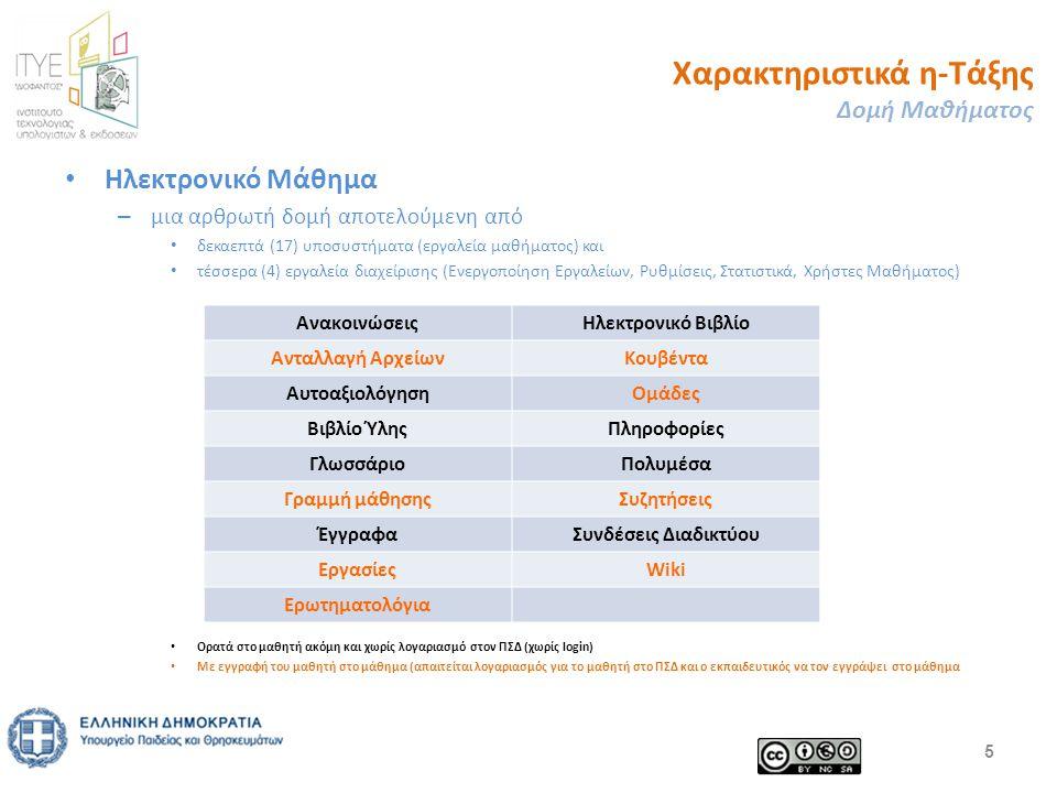 Χαρακτηριστικά η-Τάξης Δομή Μαθήματος Ηλεκτρονικό Μάθημα – μια αρθρωτή δομή αποτελούμενη από δεκαεπτά (17) υποσυστήματα (εργαλεία μαθήματος) και τέσσερα (4) εργαλεία διαχείρισης (Ενεργοποίηση Εργαλείων, Ρυθμίσεις, Στατιστικά, Χρήστες Μαθήματος) Ορατά στο μαθητή ακόμη και χωρίς λογαριασμό στον ΠΣΔ (χωρίς login) Με εγγραφή του μαθητή στο μάθημα (απαιτείται λογαριασμός για το μαθητή στο ΠΣΔ και ο εκπαιδευτικός να τον εγγράψει στο μάθημα 5 ΑνακοινώσειςΗλεκτρονικό Βιβλίο Ανταλλαγή ΑρχείωνΚουβέντα ΑυτοαξιολόγησηΟμάδες Βιβλίο ΎληςΠληροφορίες ΓλωσσάριοΠολυμέσα Γραμμή μάθησηςΣυζητήσεις ΈγγραφαΣυνδέσεις Διαδικτύου ΕργασίεςWiki Ερωτηματολόγια