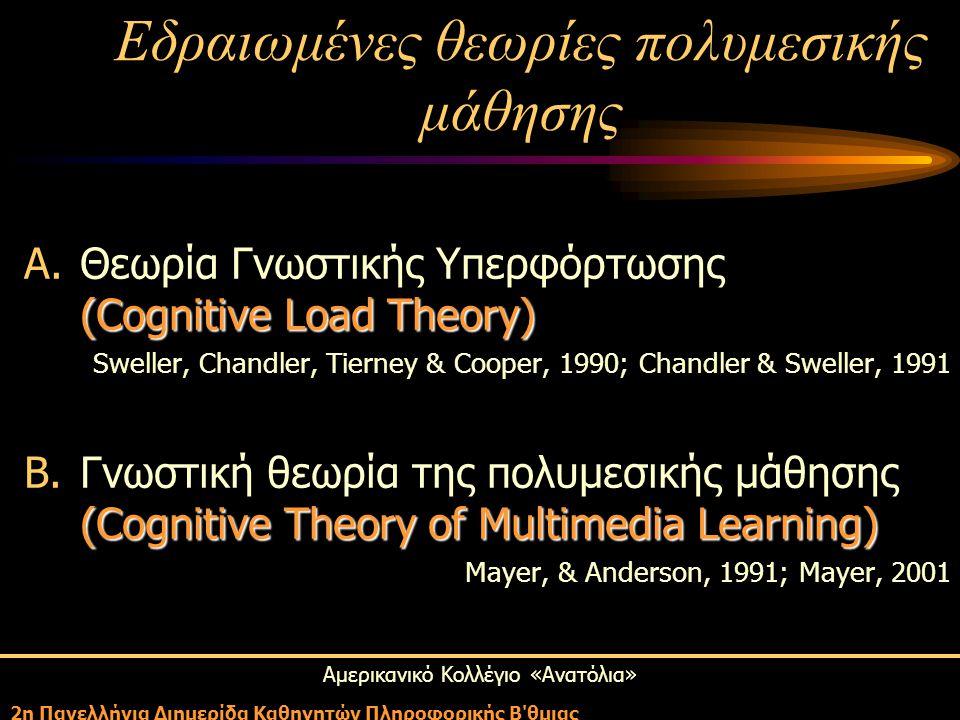 Αμερικανικό Κολλέγιο «Ανατόλια» 2η Πανελλήνια Διημερίδα Καθηγητών Πληροφορικής Β θμιας (Cognitive Load Theory) A.Θεωρία Γνωστικής Υπερφόρτωσης (Cognitive Load Theory) Sweller, Chandler, Tierney & Cooper, 1990; Chandler & Sweller, 1991 (Cognitive Theory of Multimedia Learning) B.Γνωστική θεωρία της πολυμεσικής μάθησης (Cognitive Theory of Multimedia Learning) Mayer, & Anderson, 1991; Mayer, 2001 Εδραιωμένες θεωρίες πολυμεσικής μάθησης