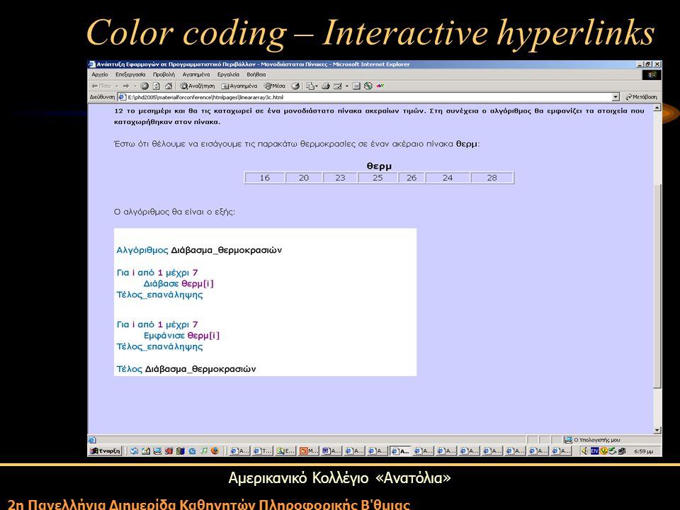 Αμερικανικό Κολλέγιο «Ανατόλια» 2η Πανελλήνια Διημερίδα Καθηγητών Πληροφορικής Β'θμιας Color coding – Interactive hyperlinks