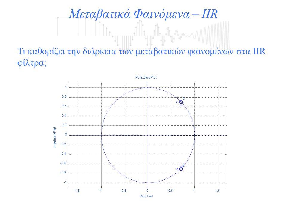 Μεταβατικά Φαινόμενα – IIR Τι καθορίζει την διάρκεια των μεταβατικών φαινομένων στα IIR φίλτρα;