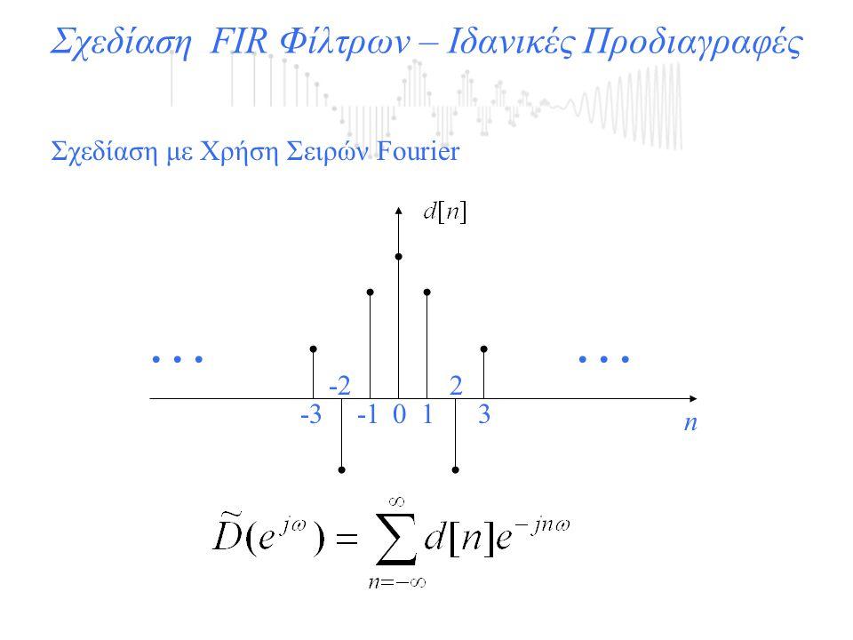 Σχεδίαση FIR Φίλτρων – Ιδανικές Προδιαγραφές Σχεδίαση με Χρήση Σειρών Fourier... n 01 2 3 -2 -3