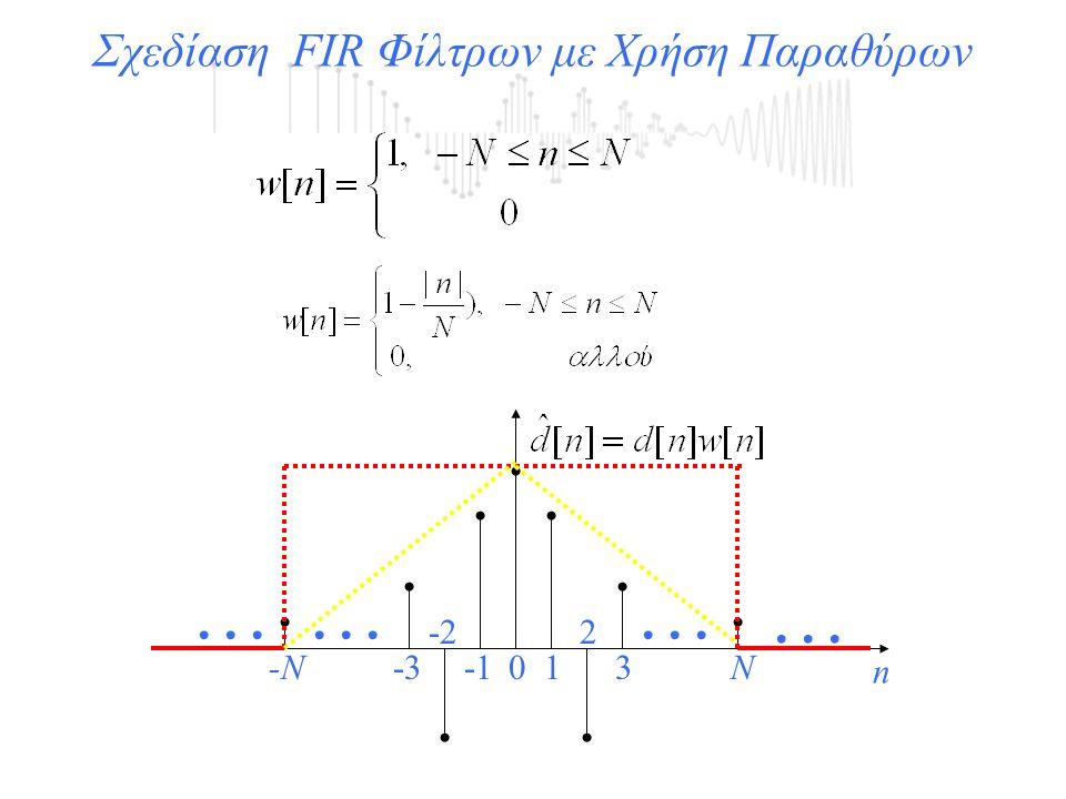 Σχεδίαση FIR Φίλτρων με Χρήση Παραθύρων... n 01 2 3 -2 -3N-N...
