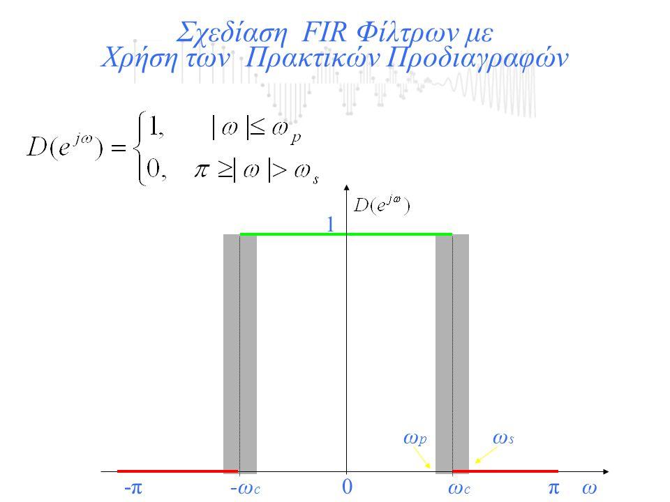 1 Σχεδίαση FIR Φίλτρων με Χρήση των Πρακτικών Προδιαγραφών 0πω-πωcωc -ωc-ωc ωsωs ωpωp