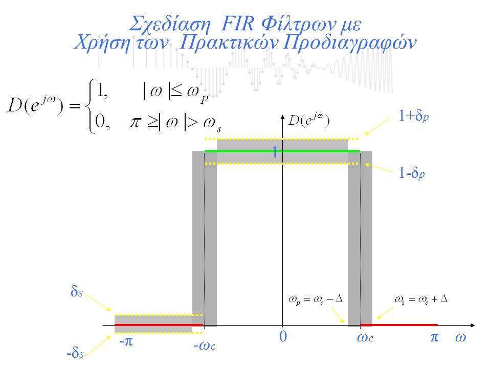 1 Σχεδίαση FIR Φίλτρων με Χρήση των Πρακτικών Προδιαγραφών 0πω -π ωcωc -ωc-ωc 1+δp1+δp 1-δp1-δp δsδs -δs-δs