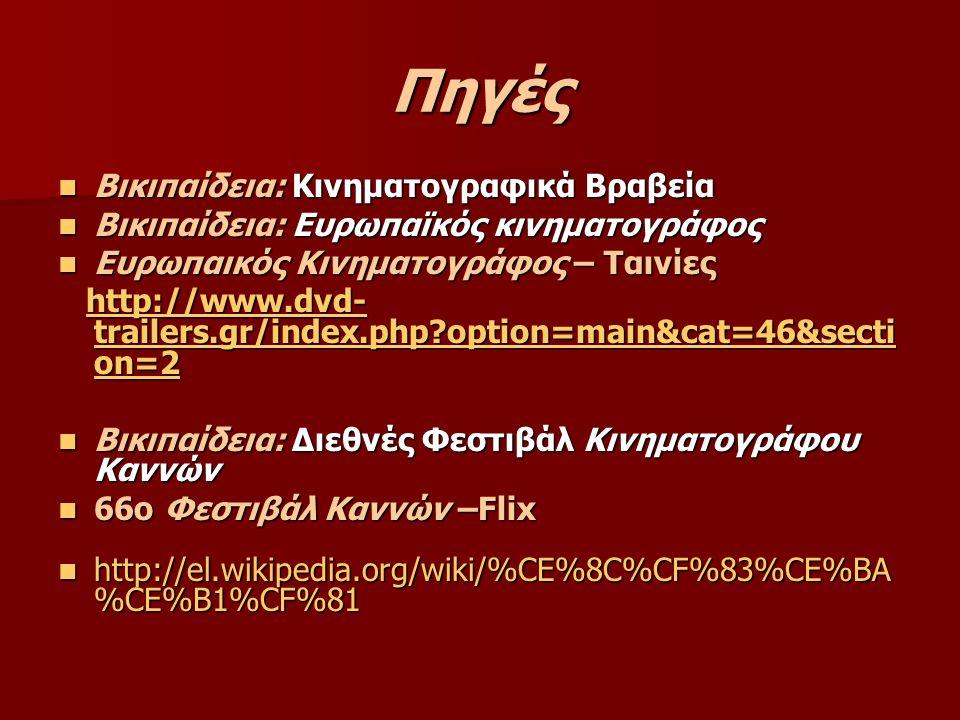 Πηγές Βικιπαίδεια: Κινηματογραφικά Βραβεία Βικιπαίδεια: Κινηματογραφικά Βραβεία Βικιπαίδεια: Ευρωπαϊκός κινηματογράφος Βικιπαίδεια: Ευρωπαϊκός κινηματ