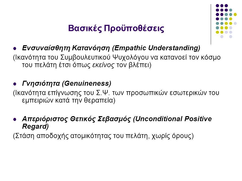 Βασικές Προϋποθέσεις Ενσυναίσθητη Κατανόηση (Empathic Understanding) (Ικανότητα του Συμβουλευτικού Ψυχολόγου να κατανοεί τον κόσμο του πελάτη έτσι όπως εκείνος τον βλέπει) Γνησιότητα (Genuineness) (Ικανότητα επίγνωσης του Σ.Ψ.