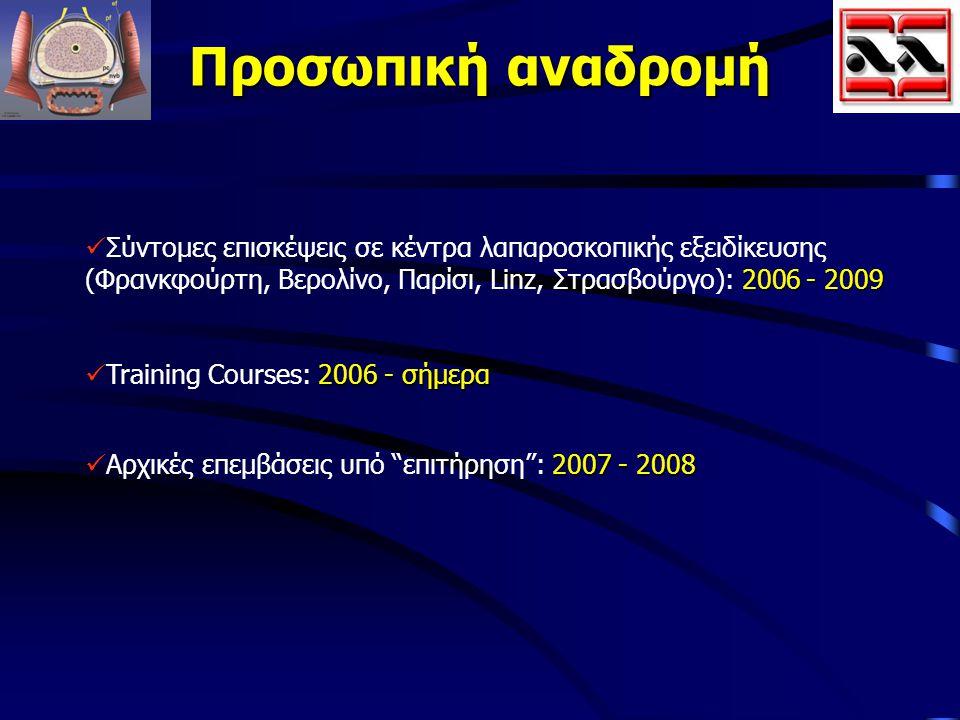 Προσωπική αναδρομή 2006 - 2009 Σύντομες επισκέψεις σε κέντρα λαπαροσκοπικής εξειδίκευσης (Φρανκφούρτη, Βερολίνο, Παρίσι, Linz, Στρασβούργο): 2006 - 20