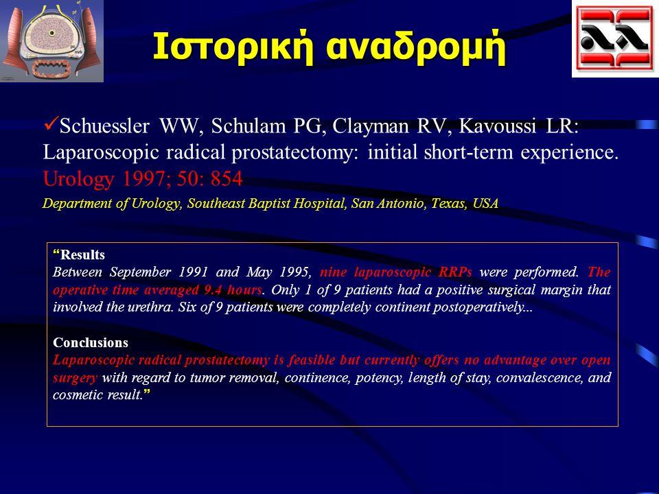 Ιστορική αναδρομή Schuessler WW, Schulam PG, Clayman RV, Kavoussi LR: Laparoscopic radical prostatectomy: initial short-term experience. Urology 1997;