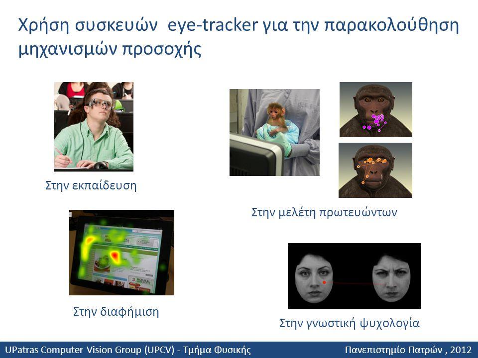 Χρήση συσκευών eye-tracker για την παρακολούθηση μηχανισμών προσοχής Στην εκπαίδευση Στην διαφήμιση Στην μελέτη πρωτευώντων Στην γνωστική ψυχολογία UP