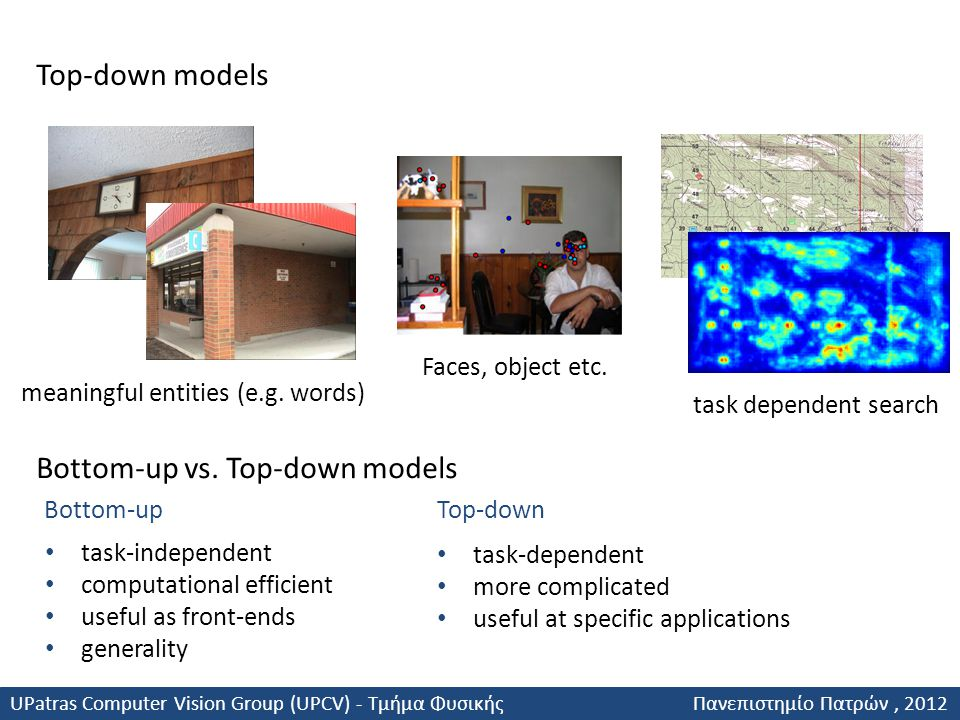 Top-down models Bottom-up vs. Top-down models task-independent computational efficient useful as front-ends generality task-dependent more complicated