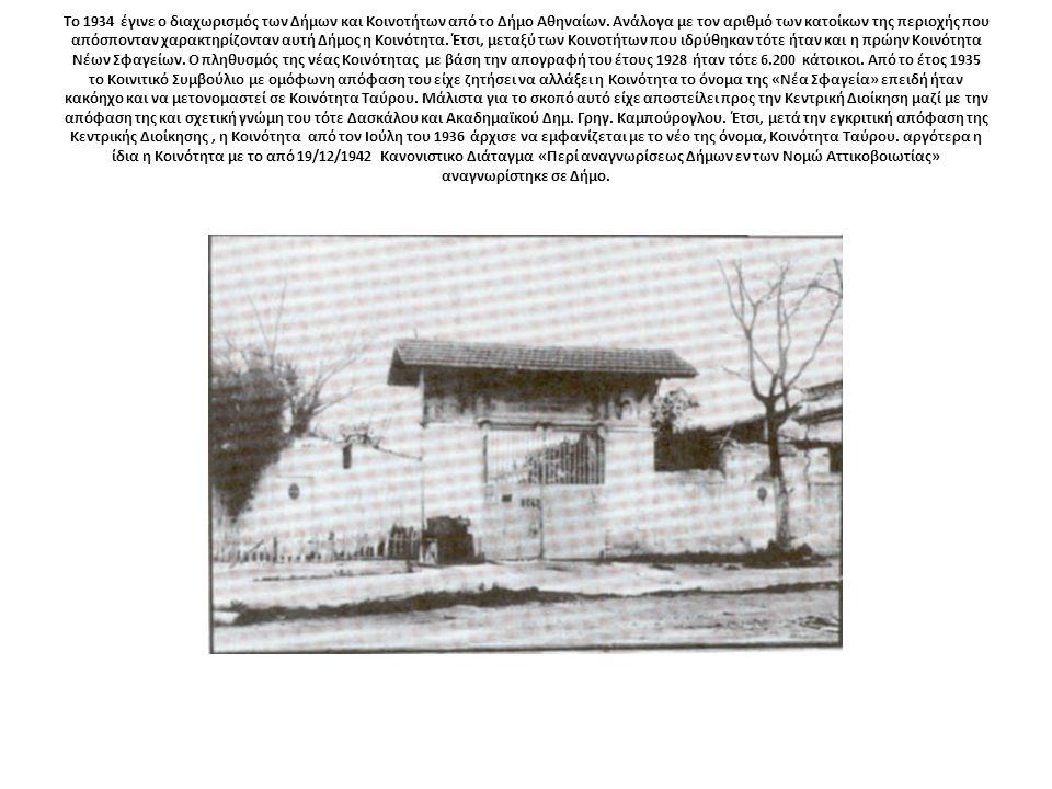 Το 1934 έγινε ο διαχωρισμός των Δήμων και Κοινοτήτων από το Δήμο Αθηναίων.