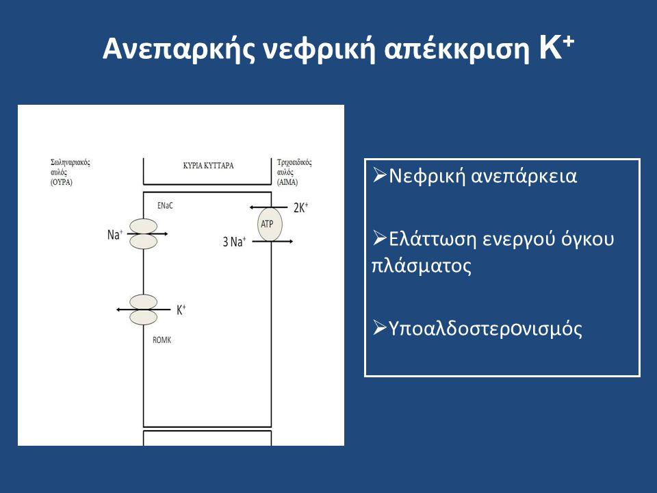 Ανεπαρκής νεφρική απέκκριση Κ +  Νεφρική ανεπάρκεια  Ελάττωση ενεργού όγκου πλάσματος  Υποαλδοστερ ο νισμός