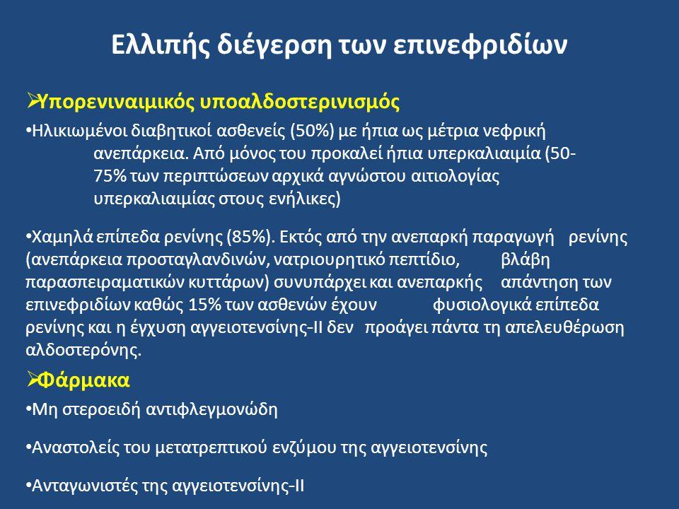 Ελλιπής διέγερση των επινεφριδίων  Υπορενιναιμικός υποαλδοστερινισμός Ηλικιωμένοι διαβητικοί ασθενείς (50%) με ήπια ως μέτρια νεφρική ανεπάρκεια. Από