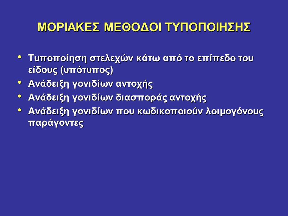 ΜΟΡΙΑΚΕΣ ΜΕΘΟΔΟΙ ΤΥΠΟΠΟΙΗΣΗΣ Τυποποίηση στελεχών κάτω από το επίπεδο του είδους (υπότυπος) Τυποποίηση στελεχών κάτω από το επίπεδο του είδους (υπότυπο