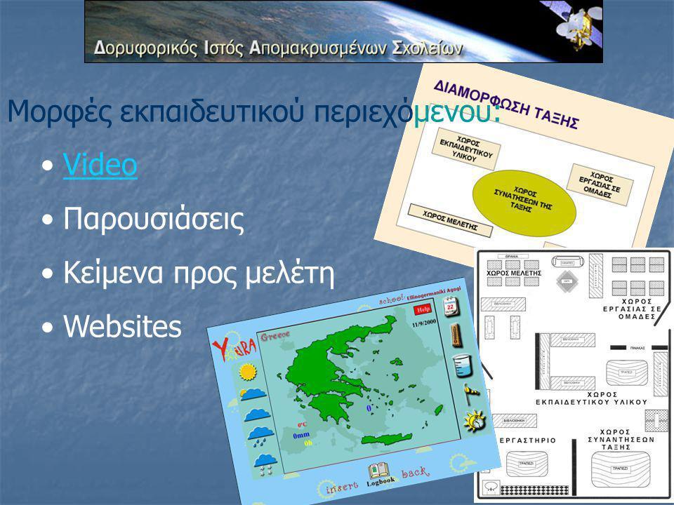 Μορφές εκπαιδευτικού περιεχόμενου: Video Παρουσιάσεις Κείμενα προς μελέτη Websites