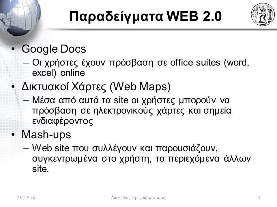Παραδείγματα WEB 2.0 Google Docs –Οι χρήστες έχουν πρόσβαση σε office suites (word, excel) online Δικτυακοί Χάρτες (Web Maps) –Μέσα από αυτά τα site οι χρήστες μπορούν να πρόσβαση σε ηλεκτρονικούς χάρτες και σημεία ενδιαφέροντος Mash-ups –Web site που συλλέγουν και παρουσιάζουν, συγκεντρωμένα στο χρήστη, τα περιεχόμενα άλλων site.