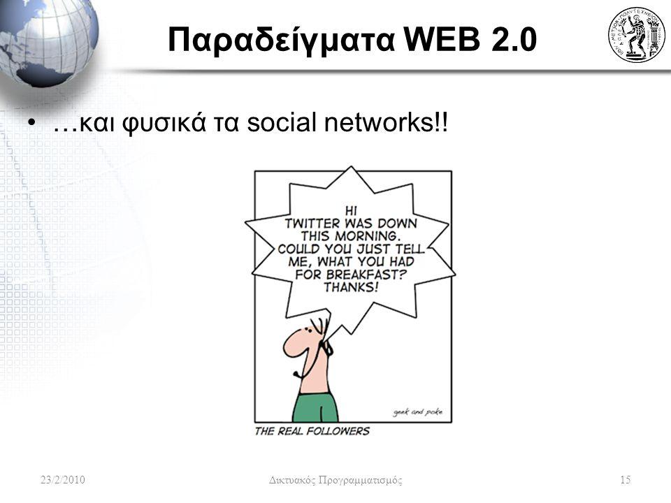 Παραδείγματα WEB 2.0 …και φυσικά τα social networks!! 23/2/2010 Δικτυακός Προγραμματισμός 15