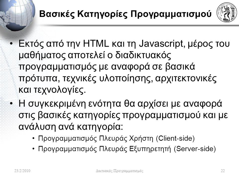 Βασικές Κατηγορίες Προγραμματισμού Εκτός από την HTML και τη Javascript, μέρος του μαθήματος αποτελεί ο διαδικτυακός προγραμματισμός με αναφορά σε βασικά πρότυπα, τεχνικές υλοποίησης, αρχιτεκτονικές και τεχνολογίες.