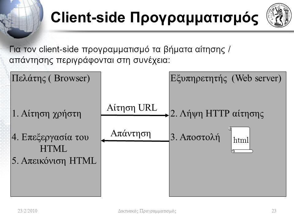 Client-side Προγραμματισμός Για τον client-side προγραμματισμό τα βήματα αίτησης / απάντησης περιγράφονται στη συνέχεια: Πελάτης ( Browser) 1.