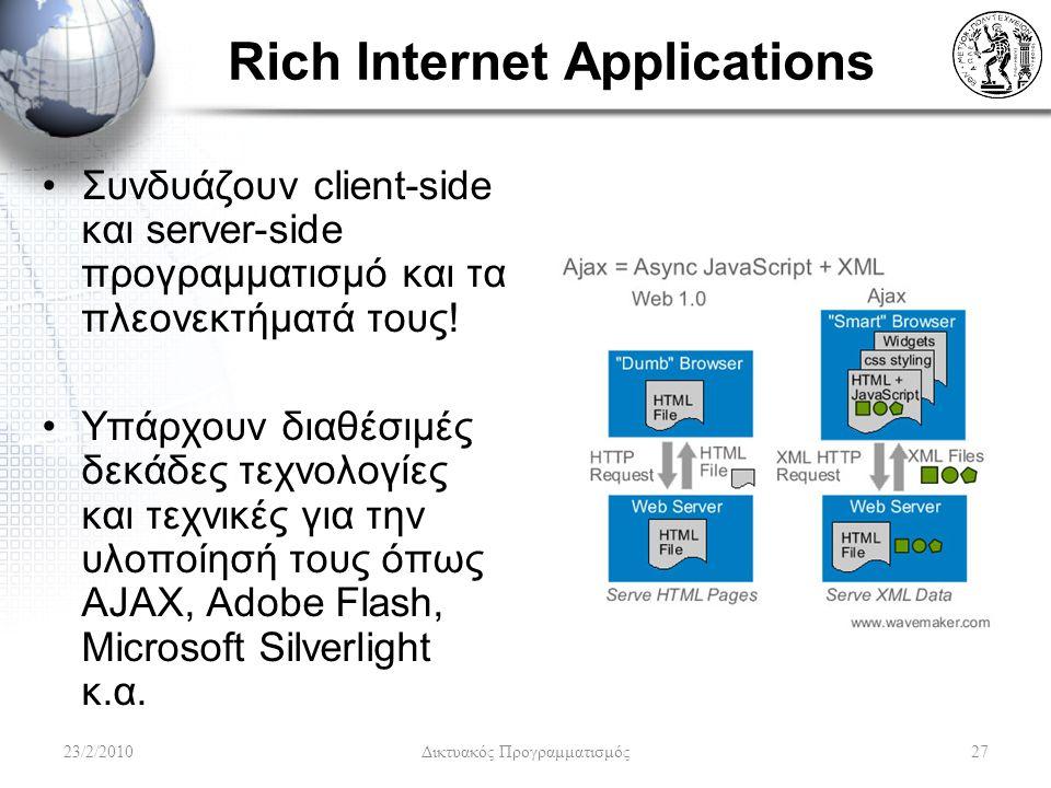 Rich Internet Applications Συνδυάζουν client-side και server-side προγραμματισμό και τα πλεονεκτήματά τους.