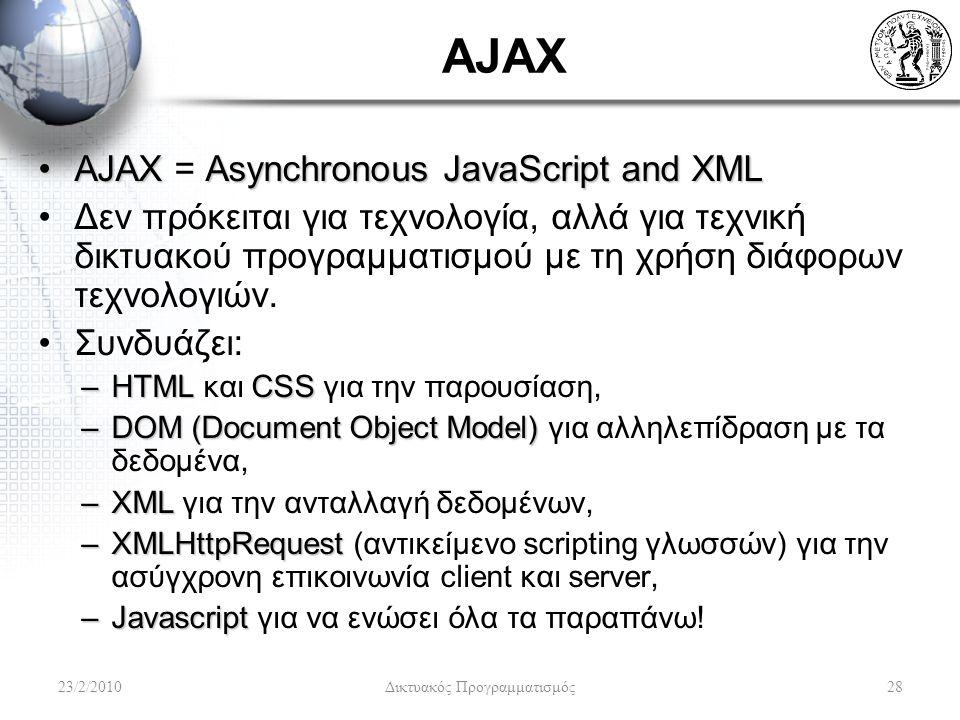 AJAX AJAXAsynchronousJavaScriptandXMLAJAX = Asynchronous JavaScript and XML Δεν πρόκειται για τεχνολογία, αλλά για τεχνική δικτυακού προγραμματισμού με τη χρήση διάφορων τεχνολογιών.