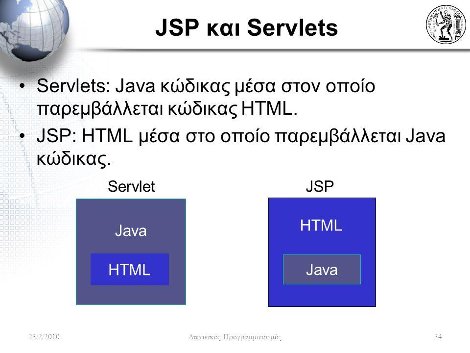 JSP και Servlets Servlets: Java κώδικας μέσα στον οποίο παρεμβάλλεται κώδικας HTML.