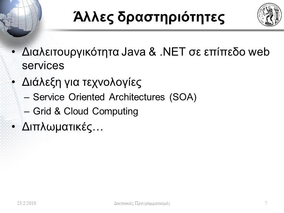 Άλλες δραστηριότητες Διαλειτουργικότητα Java &.NET σε επίπεδο web services Διάλεξη για τεχνολογίες –Service Oriented Architectures (SOA) –Grid & Cloud Computing Διπλωματικές… 23/2/20107 Δικτυακός Προγραμματισμός