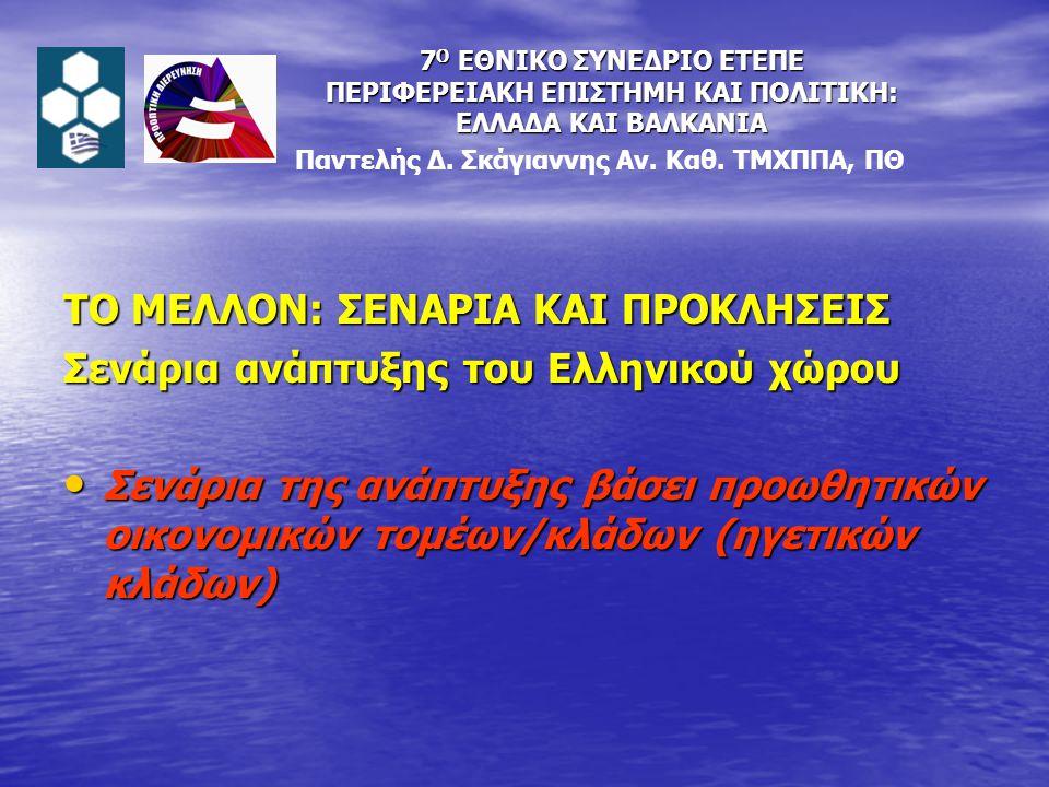 ΤΟ ΜΕΛΛΟΝ: ΣΕΝΑΡΙΑ ΚΑΙ ΠΡΟΚΛΗΣΕΙΣ Σενάρια ανάπτυξης του Ελληνικού χώρου Σενάρια της ανάπτυξης βάσει προωθητικών οικονομικών τομέων/κλάδων (ηγετικών κλάδων) Σενάρια της ανάπτυξης βάσει προωθητικών οικονομικών τομέων/κλάδων (ηγετικών κλάδων) Παντελής Δ.