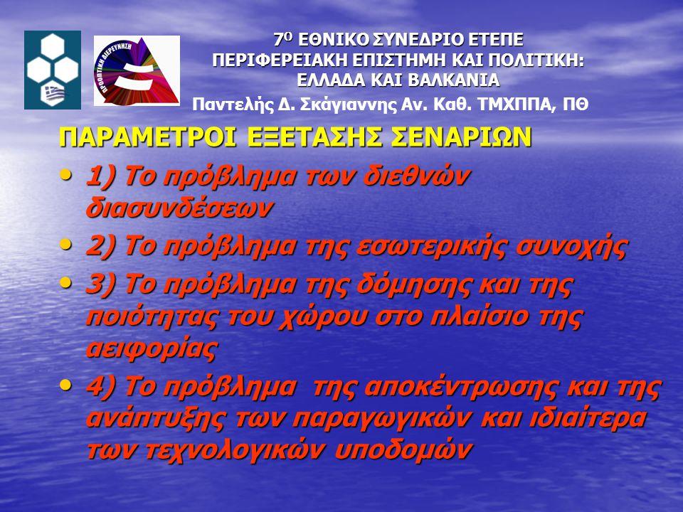 ΠΑΡΑΜΕΤΡΟΙ ΕΞΕΤΑΣΗΣ ΣΕΝΑΡΙΩΝ 1) Το πρόβλημα των διεθνών διασυνδέσεων 1) Το πρόβλημα των διεθνών διασυνδέσεων 2) Το πρόβλημα της εσωτερικής συνοχής 2) Το πρόβλημα της εσωτερικής συνοχής 3) Το πρόβλημα της δόμησης και της ποιότητας του χώρου στο πλαίσιο της αειφορίας 3) Το πρόβλημα της δόμησης και της ποιότητας του χώρου στο πλαίσιο της αειφορίας 4) Το πρόβλημα της αποκέντρωσης και της ανάπτυξης των παραγωγικών και ιδιαίτερα των τεχνολογικών υποδομών 4) Το πρόβλημα της αποκέντρωσης και της ανάπτυξης των παραγωγικών και ιδιαίτερα των τεχνολογικών υποδομών Παντελής Δ.