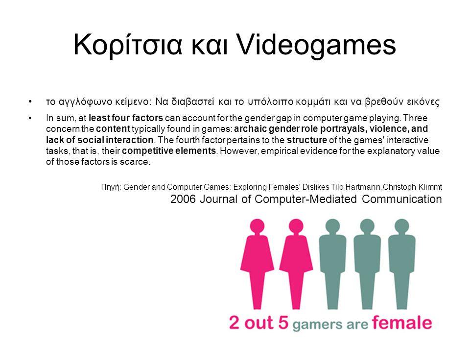 Πηγές: Κορίτσια και Videogames το αγγλόφωνο κείμενο: Να διαβαστεί και το υπόλοιπο κομμάτι και να βρεθούν εικόνες In sum, at least four factors can account for the gender gap in computer game playing.