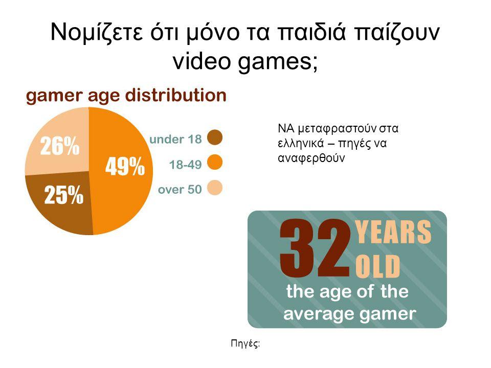 Πηγές: Νομίζετε ότι μόνο τα παιδιά παίζουν video games; ΝΑ μεταφραστούν στα ελληνικά – πηγές να αναφερθούν