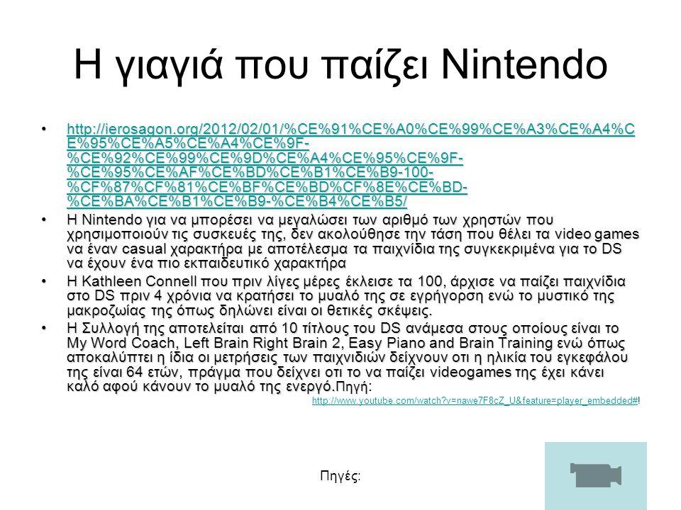 Πηγές: Η γιαγιά που παίζει Nintendo http://ierosagon.org/2012/02/01/%CE%91%CE%A0%CE%99%CE%A3%CE%A4%C E%95%CE%A5%CE%A4%CE%9F- %CE%92%CE%99%CE%9D%CE%A4%CE%95%CE%9F- %CE%95%CE%AF%CE%BD%CE%B1%CE%B9-100- %CF%87%CF%81%CE%BF%CE%BD%CF%8E%CE%BD- %CE%BA%CE%B1%CE%B9-%CE%B4%CE%B5/http://ierosagon.org/2012/02/01/%CE%91%CE%A0%CE%99%CE%A3%CE%A4%C E%95%CE%A5%CE%A4%CE%9F- %CE%92%CE%99%CE%9D%CE%A4%CE%95%CE%9F- %CE%95%CE%AF%CE%BD%CE%B1%CE%B9-100- %CF%87%CF%81%CE%BF%CE%BD%CF%8E%CE%BD- %CE%BA%CE%B1%CE%B9-%CE%B4%CE%B5/http://ierosagon.org/2012/02/01/%CE%91%CE%A0%CE%99%CE%A3%CE%A4%C E%95%CE%A5%CE%A4%CE%9F- %CE%92%CE%99%CE%9D%CE%A4%CE%95%CE%9F- %CE%95%CE%AF%CE%BD%CE%B1%CE%B9-100- %CF%87%CF%81%CE%BF%CE%BD%CF%8E%CE%BD- %CE%BA%CE%B1%CE%B9-%CE%B4%CE%B5/http://ierosagon.org/2012/02/01/%CE%91%CE%A0%CE%99%CE%A3%CE%A4%C E%95%CE%A5%CE%A4%CE%9F- %CE%92%CE%99%CE%9D%CE%A4%CE%95%CE%9F- %CE%95%CE%AF%CE%BD%CE%B1%CE%B9-100- %CF%87%CF%81%CE%BF%CE%BD%CF%8E%CE%BD- %CE%BA%CE%B1%CE%B9-%CE%B4%CE%B5/ Η Nintendo για να μπορέσει να μεγαλώσει των αριθμό των χρηστών που χρησιμοποιούν τις συσκευές της, δεν ακολούθησε την τάση που θέλει τα video games να έναν casual χαρακτήρα με αποτέλεσμα τα παιχνίδια της συγκεκριμένα για το DS να έχουν ένα πιο εκπαιδευτικό χαρακτήραΗ Nintendo για να μπορέσει να μεγαλώσει των αριθμό των χρηστών που χρησιμοποιούν τις συσκευές της, δεν ακολούθησε την τάση που θέλει τα video games να έναν casual χαρακτήρα με αποτέλεσμα τα παιχνίδια της συγκεκριμένα για το DS να έχουν ένα πιο εκπαιδευτικό χαρακτήρα Η Kathleen Connell που πριν λίγες μέρες έκλεισε τα 100, άρχισε να παίζει παιχνίδια στο DS πριν 4 χρόνια να κρατήσει το μυαλό της σε εγρήγορση ενώ το μυστικό της μακροζωίας της όπως δηλώνει είναι οι θετικές σκέψεις.Η Kathleen Connell που πριν λίγες μέρες έκλεισε τα 100, άρχισε να παίζει παιχνίδια στο DS πριν 4 χρόνια να κρατήσει το μυαλό της σε εγρήγορση ενώ το μυστικό της μακροζωίας της όπως δηλώνει είναι οι θετικές σκέψεις.