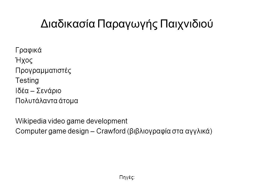 Πηγές: Διαδικασία Παραγωγής Παιχνιδιού Γραφικά Ήχος Προγραμματιστές Testing Ιδέα – Σενάριο Πολυτάλαντα άτομα Wikipedia video game development Computer game design – Crawford (βιβλιογραφία στα αγγλικά)