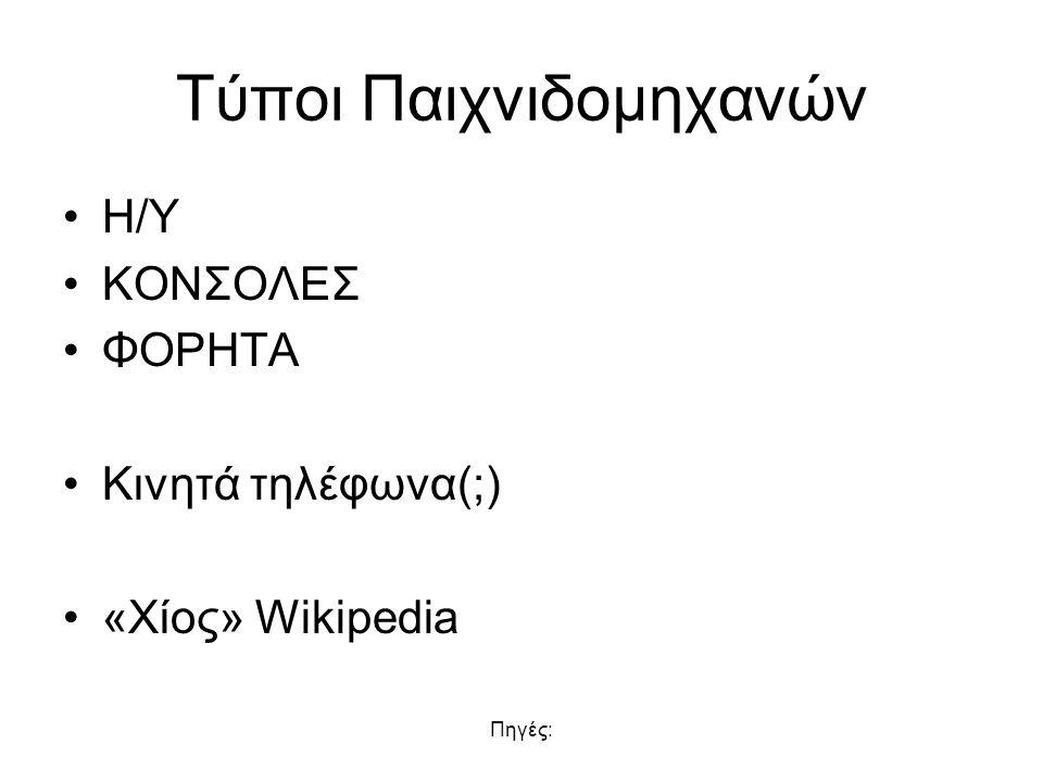 Πηγές: Τύποι Παιχνιδομηχανών Η/Υ ΚΟΝΣΟΛΕΣ ΦΟΡΗΤΑ Κινητά τηλέφωνα(;) «Χίος» Wikipedia