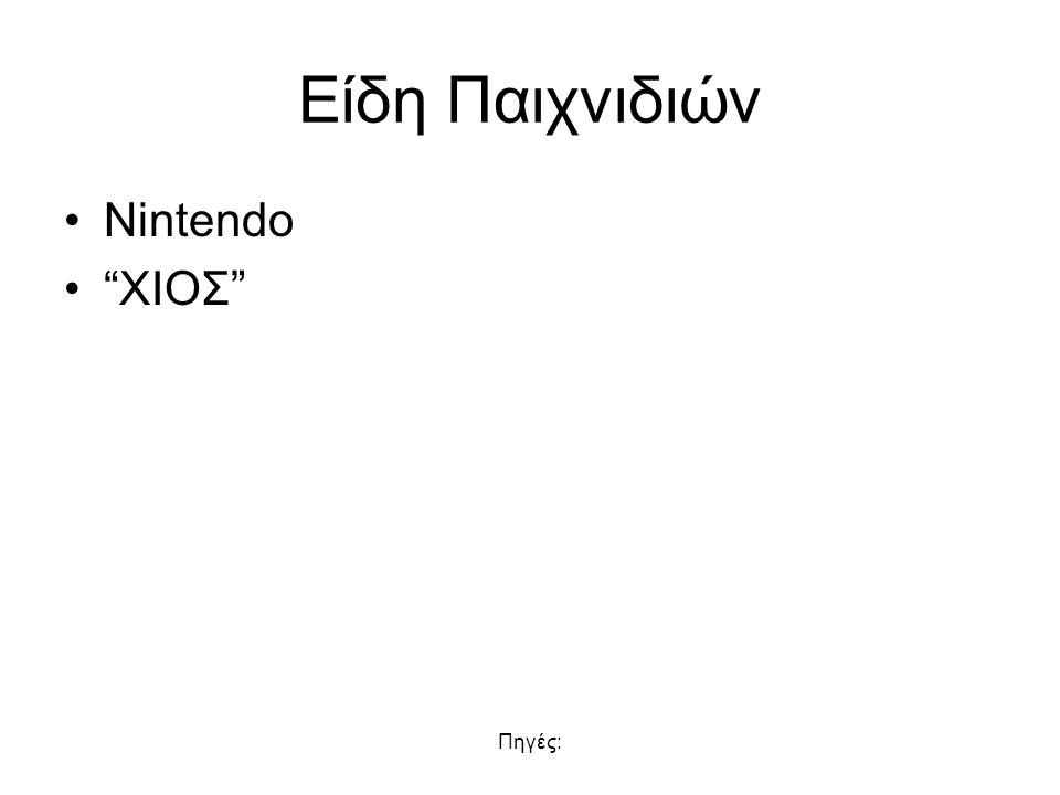 Πηγές: Είδη Παιχνιδιών Nintendo XIOΣ