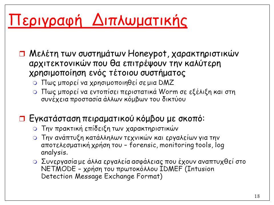 18 Περιγραφή Διπλωματικής  Μελέτη των συστημάτων Honeypot, χαρακτηριστικών αρχιτεκτονικών που θα επιτρέψουν την καλύτερη χρησιμοποίηση ενός τέτοιου σ