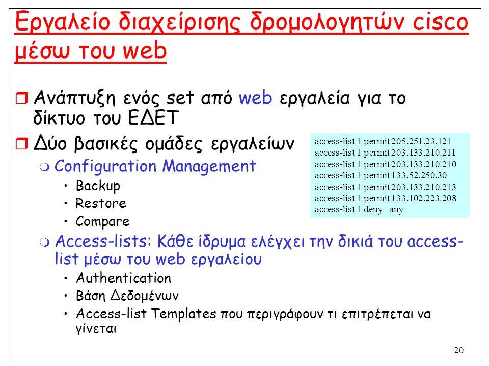 20 Εργαλείο διαχείρισης δρομολογητών cisco μέσω του web  Ανάπτυξη ενός set από web εργαλεία για το δίκτυο του ΕΔΕΤ  Δύο βασικές ομάδες εργαλείων  C