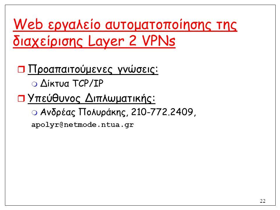 22 Web εργαλείο αυτοματοποίησης της διαχείρισης Layer 2 VPNs  Προαπαιτούμενες γνώσεις:  Δίκτυα TCP/IP  Υπεύθυνος Διπλωματικής:  Ανδρέας Πολυράκης,