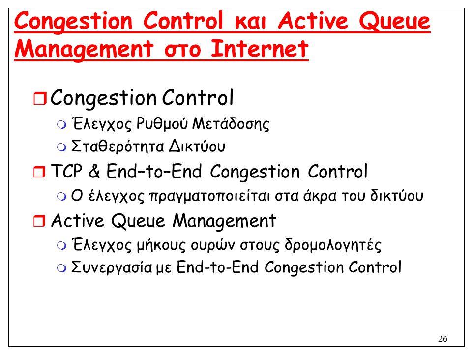26 Congestion Control και Active Queue Management στο Internet  Congestion Control  Έλεγχος Ρυθμού Μετάδοσης  Σταθερότητα Δικτύου  TCP & End–to–En