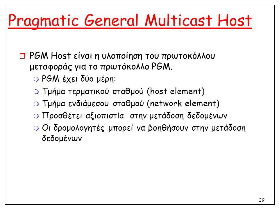 29 Pragmatic General Multicast Host  PGM Host είναι η υλοποίηση του πρωτοκόλλου μεταφοράς για το πρωτόκολλο PGM.  PGM έχει δύο μέρη:  Τμήμα τερματι
