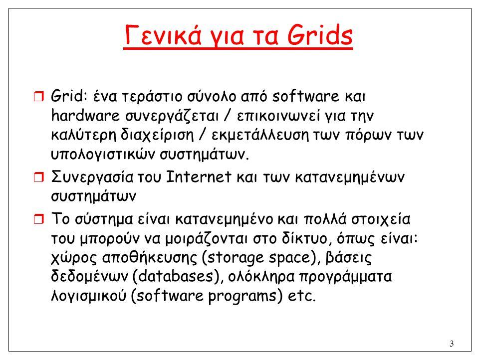 3 Γενικά για τα Grids  Grid: ένα τεράστιο σύνολο από software και hardware συνεργάζεται / επικοινωνεί για την καλύτερη διαχείριση / εκμετάλλευση των