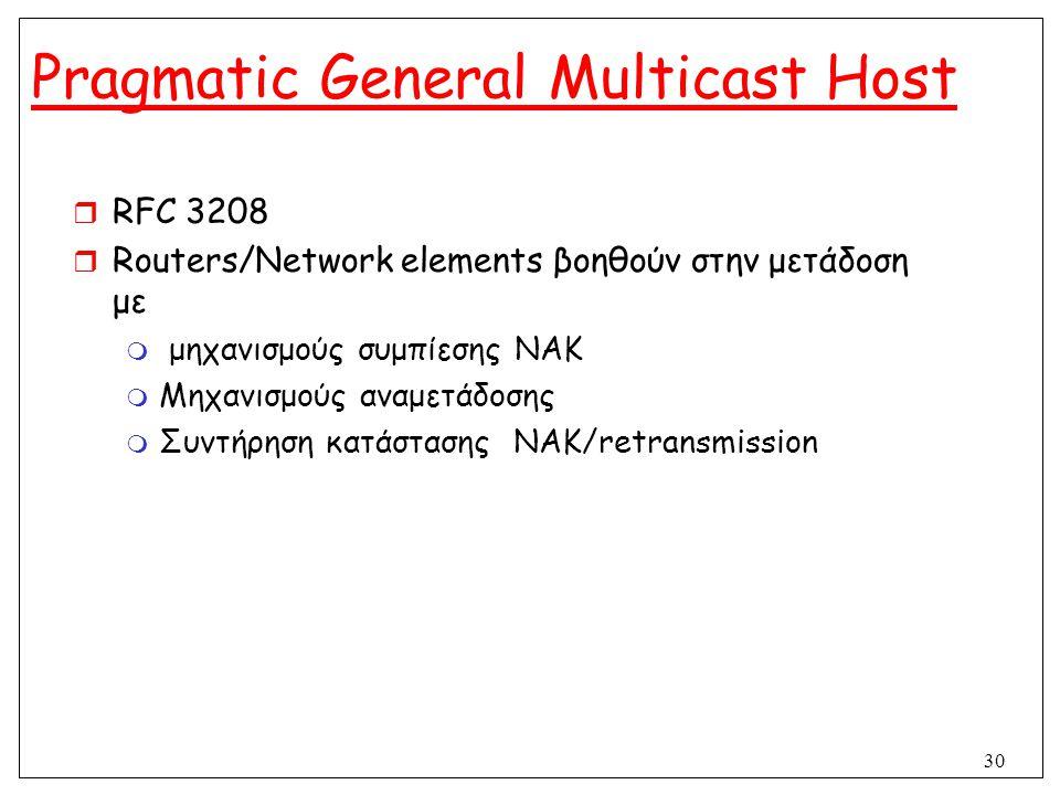 30 Pragmatic General Multicast Host  RFC 3208  Routers/Network elements βοηθούν στην μετάδοση με  μηχανισμούς συμπίεσης ΝΑΚ  Μηχανισμούς αναμετάδο