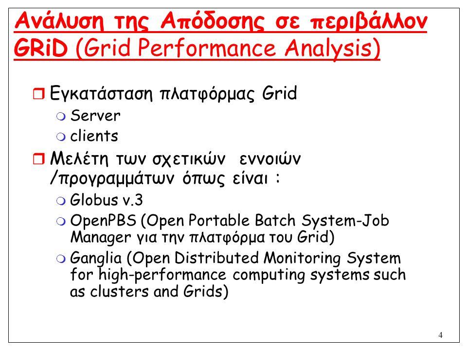5 Ανάλυση της Απόδοσης σε περιβάλλον GRiD (Grid Performance Analysis)  Μελέτη της απόδοσης (performance) του δικτύου  Καθορισμός της διαδικασίας παρακολούθησης και μέτρηση της κίνησης στο σύστημα  Δημιουργία και εισαγωγή εργασιών (jobs) για τη μέτρηση της απόδοσης του συστήματος  Εμφάνιση γραφημάτων της απόδοσης και υλοποίηση web interface για τον έλεγχο του συστήματος