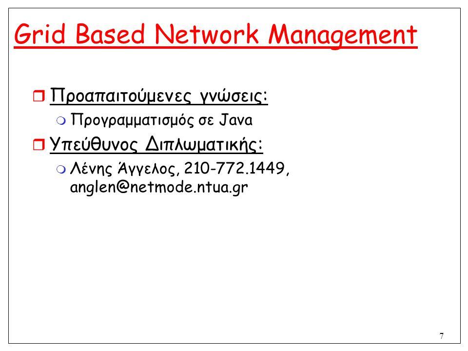 7 Grid Based Network Management  Προαπαιτούμενες γνώσεις:  Προγραμματισμός σε Java  Υπεύθυνος Διπλωματικής:  Λένης Άγγελος, 210-772.1449, anglen@n