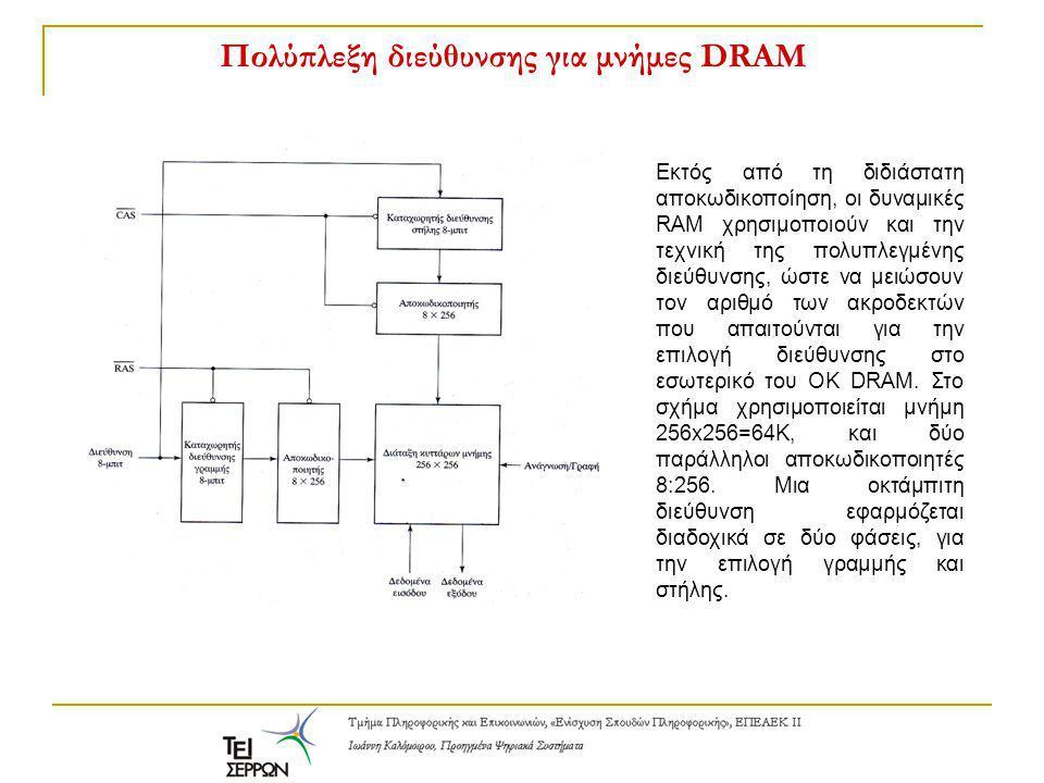 Πολύπλεξη διεύθυνσης για μνήμες DRAM Εκτός από τη διδιάστατη αποκωδικοποίηση, οι δυναμικές RAM χρησιμοποιούν και την τεχνική της πολυπλεγμένης διεύθυν