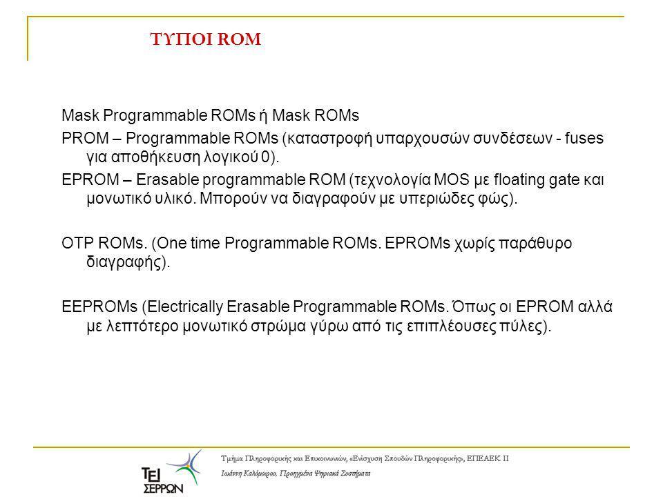 ΤΥΠΟΙ ROM Mask Programmable ROMs ή Mask ROMs PROM – Programmable ROMs (καταστροφή υπαρχουσών συνδέσεων - fuses για αποθήκευση λογικού 0). EPROM – Eras