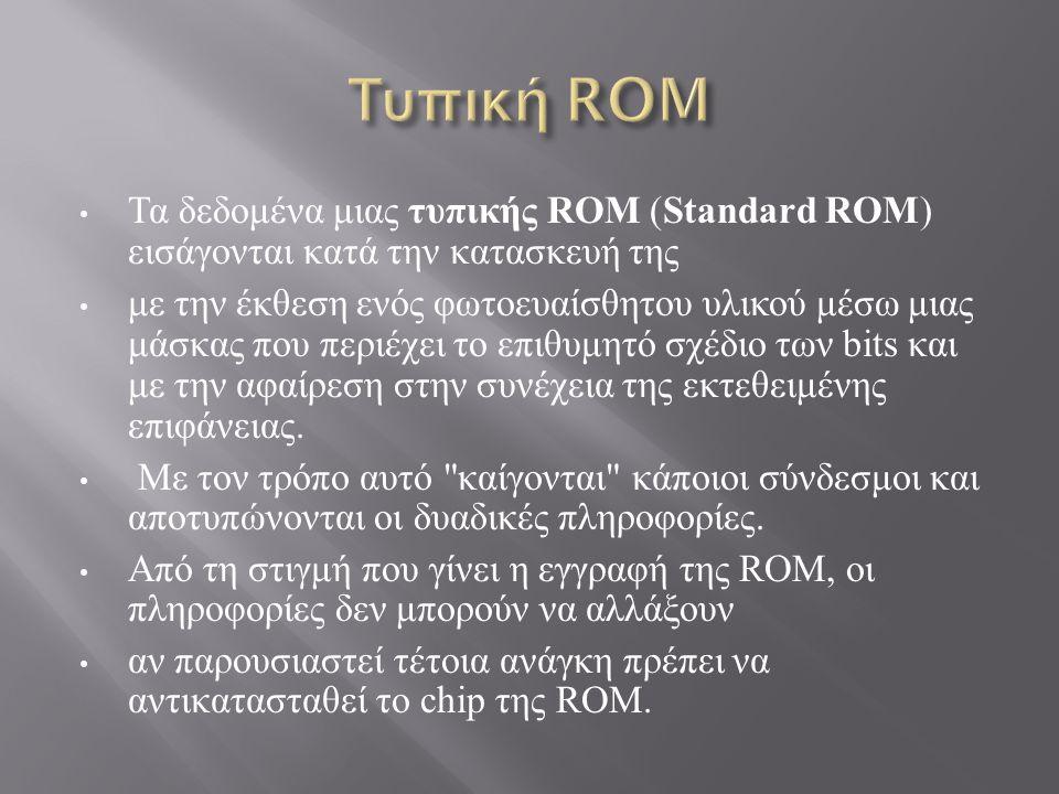 Τα δεδομένα μιας τυπικής ROM ( Standard ROM ) εισάγονται κατά την κατασκευή της με την έκθεση ενός φωτοευαίσθητου υλικού μέσω μιας μάσκας που περιέχει το επιθυμητό σχέδιο των bits και με την αφαίρεση στην συνέχεια της εκτεθειμένης επιφάνειας.