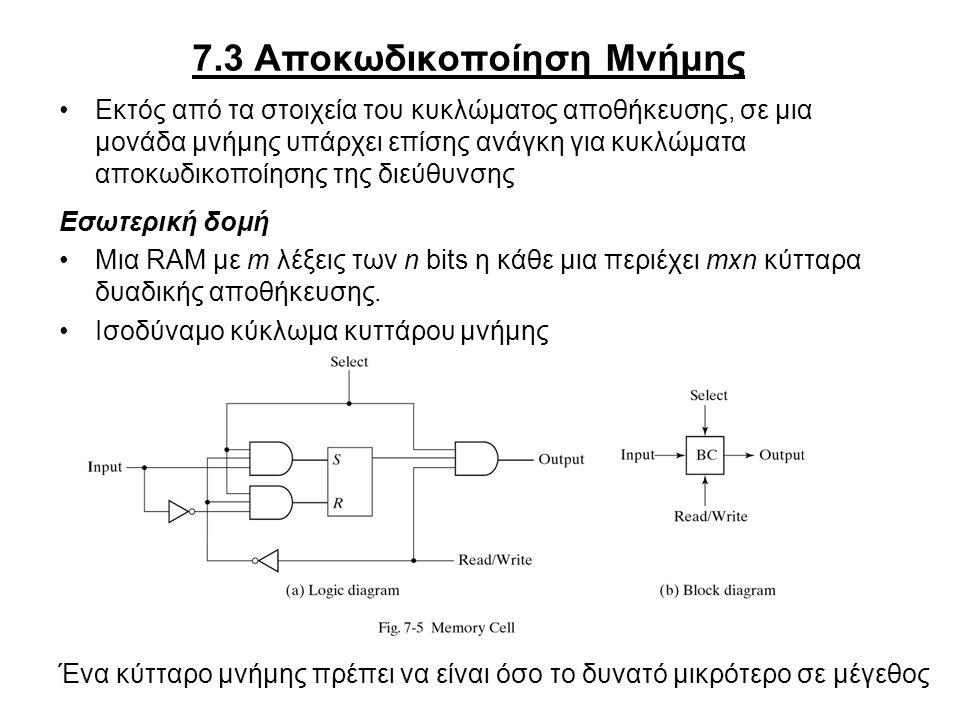 7.3 Αποκωδικοποίηση Μνήμης Εκτός από τα στοιχεία του κυκλώματος αποθήκευσης, σε μια μονάδα μνήμης υπάρχει επίσης ανάγκη για κυκλώματα αποκωδικοποίησης