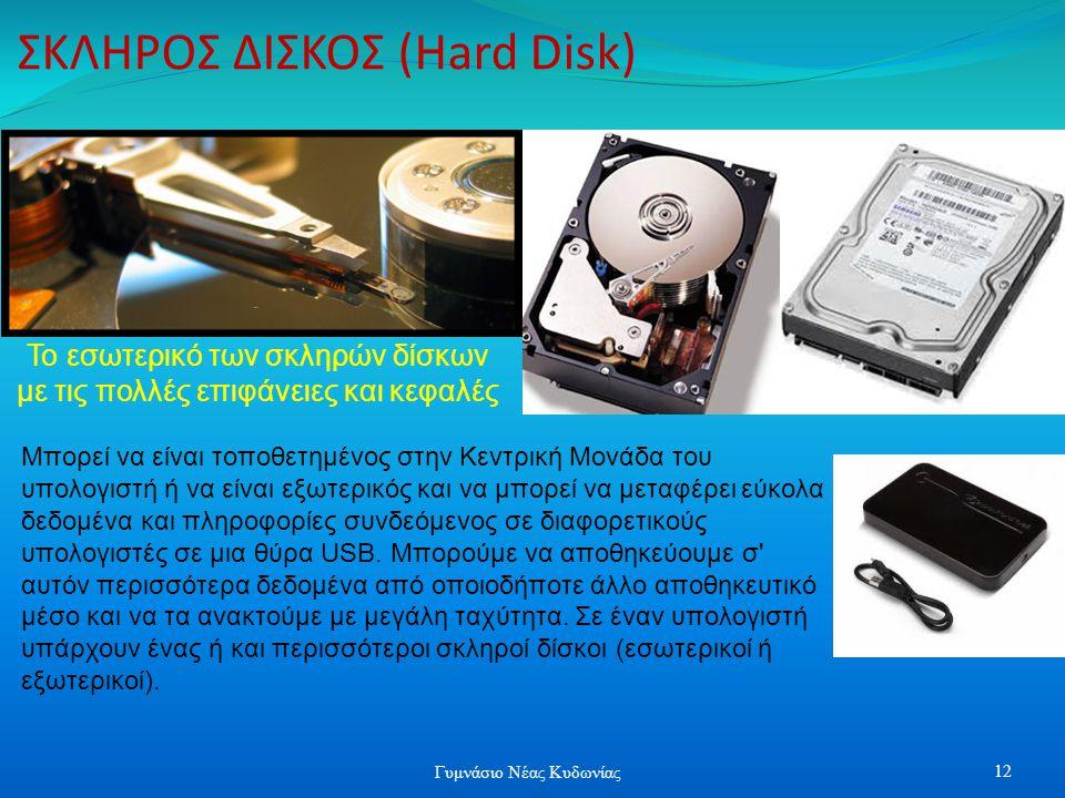 ΣΚΛΗΡΟΣ ΔΙΣΚΟΣ (Hard Disk) Μπορεί να είναι τοποθετημένος στην Κεντρική Μονάδα του υπολογιστή ή να είναι εξωτερικός και να μπορεί να μεταφέρει εύκολα δ